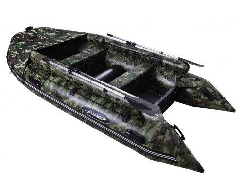 Гладиатор D370AL FB КМФ (Professional) с фальшбортом, алюминиевым полом, килевая - моторная надувная лодка ПВХ