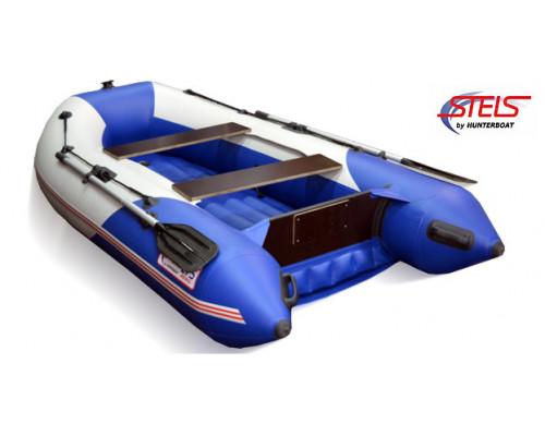 СТЕЛС 275 АЭРО (НДНД) с умеренно-килеватым надувным дном низкого давления - моторная надувная лодка ПВХ