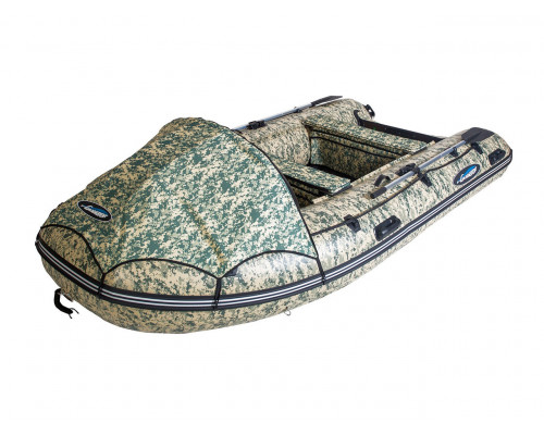Гладиатор E350 CAMO (Air) с надувным дном низкого давления (НДНД), камуфляж - моторная надувная лодка ПВХ