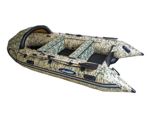 Гладиатор E380 CAMO (Air) с надувным дном низкого давления (НДНД), камуфляж - моторная надувная лодка ПВХ