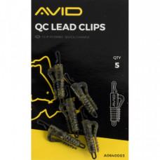 Клипса сo скобой и застежкой AVID CARP  OUTLINE QC LEAD CLIPS 5шт.